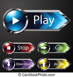 cromo, mídia, menu, botões