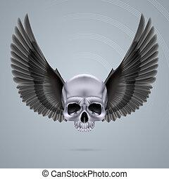 cromo, metal, dos, cráneo, alas