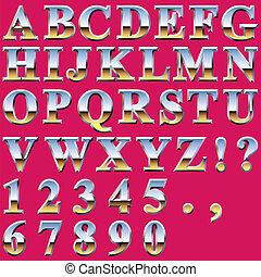 cromo, metal, letras
