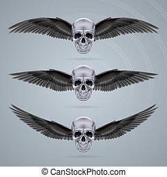 cromo, metal, três, dois, crânios, asas