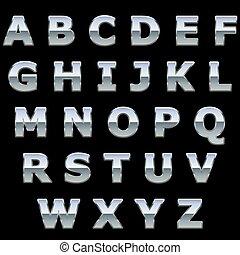 cromo, metallo, baluginante, lettere