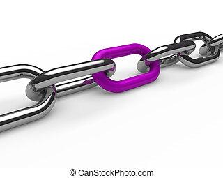 cromo, púrpura, cadena, 3d