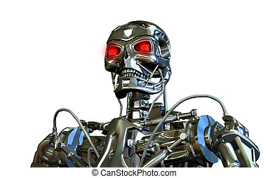 cromo, ritratto, robot