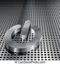 cromo, símbolo, cuadrícula, metalic, potencia
