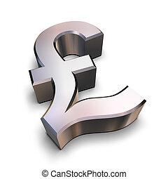cromo, símbolo, libra, 3d