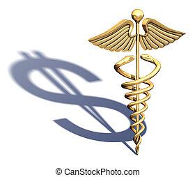 cromo, símbolo, médico, caduceus