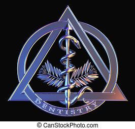 cromo, símbolo, odontología