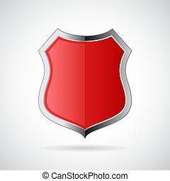 cromo, scudo, rosso, icona