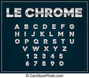 cromo, set., letras, metálico, vetorial, números, fonte, prata