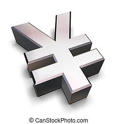 cromo, simbolo, 3d, yen