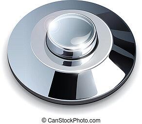 cromo, tela, botón