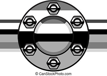 cromo, terminación, vector, reborde, tubo
