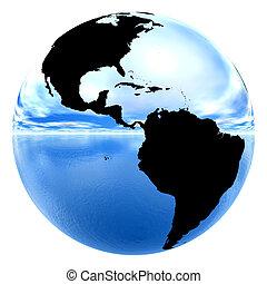 cromo, terra, riflettere, cielo, &, acqua