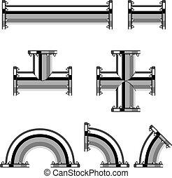 cromo, tubos, vector, reborde