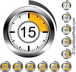 cromo, vector, contadores de tiempo, redondo