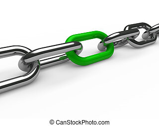 cromo, verde, cadena, 3d