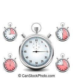 cromo, vetorial, stopwatch.