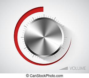 cromo, volume, botão