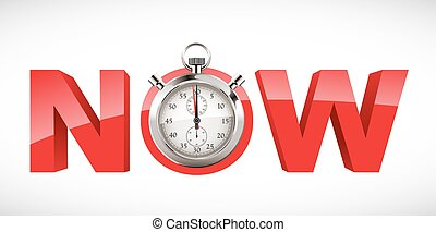 cronómetro, ahora, -