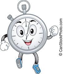cronómetro, análogo, mascota