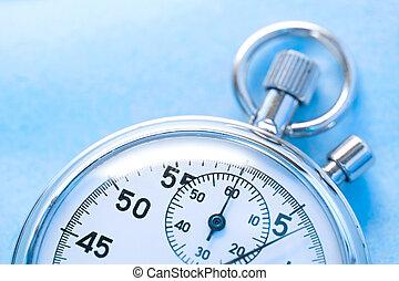 cronómetro, azul, aislado