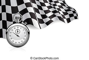 cronómetro, bandera, a cuadros, plano de fondo
