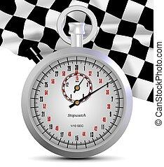 cronómetro, bandera, fin