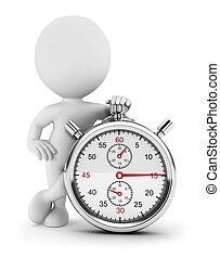 cronómetro, blanco, 3d, gente