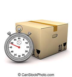cronómetro, caso, embalaje