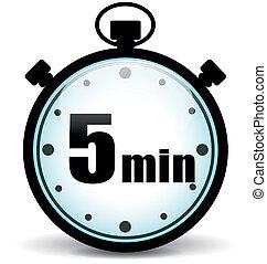 cronómetro, cinco, minutos