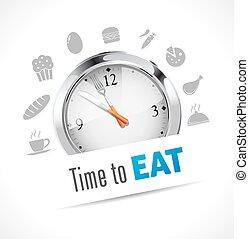 cronómetro, -, comer, tiempo