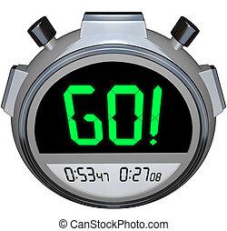 cronómetro, comienzos, ir, carrera, sincronización,...