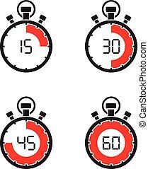 cronómetro, conjunto, avisador