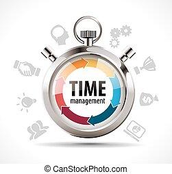 cronómetro, dirección, concepto, -, tiempo