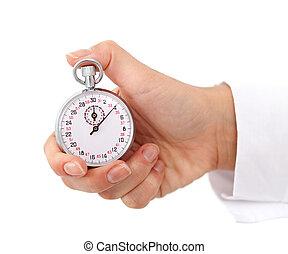 cronómetro, mujer, mano