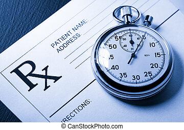 cronómetro, paciente, lista, blanco