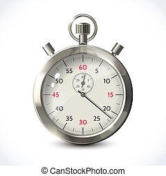 cronómetro, realista, metálico