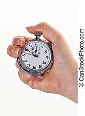 cronómetro, sincronización, mano