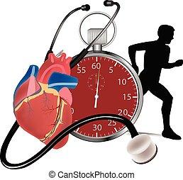 cronómetro, tasa, medida, corazón