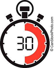 cronómetro, treinta, minuto