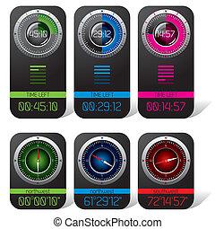 cronômetro, digital, compasso