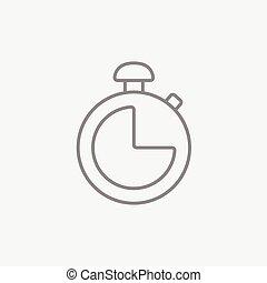 cronômetro, linha, icon.