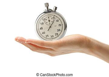 cronômetro, mão feminina