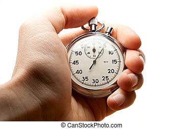 cronômetro, macho, segurando mão