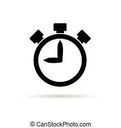 cronômetro, pretas, ilustração