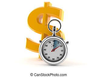 cronômetro, símbolo, dólar