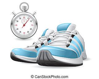 cronômetro, sapatos correntes