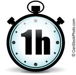 cronômetro, vetorial, hora, um