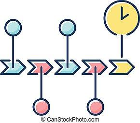 cronologia, rgb, colorare, icona