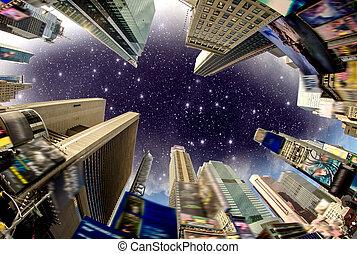cronometra quadre, predios, visto, de, a, rua, com, céu...